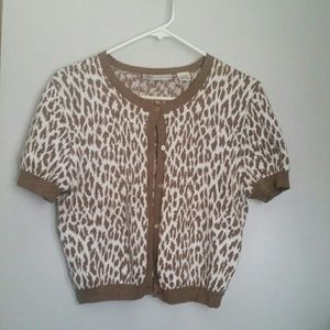 Animal Print Cotton Cardigan L